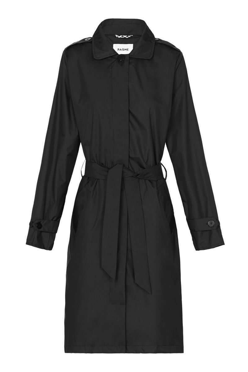 Paqme Raincoat Trench - BLACK