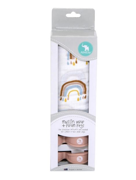All4Ella Muslin Wrap & Pram Peg Set