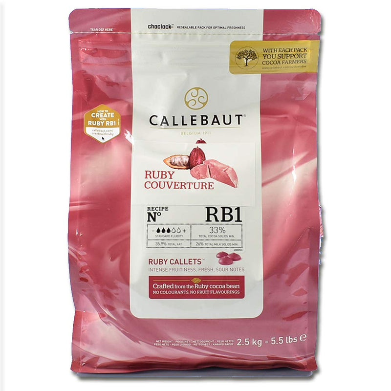 Ruby Couverture Chocolate Callets, 5.5 lb