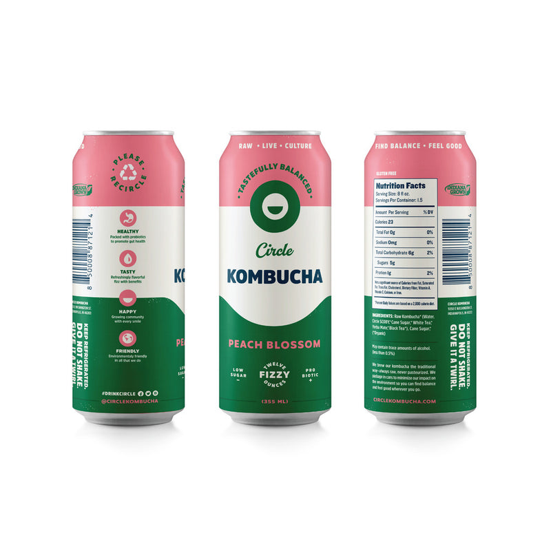 Peach Blossom Kombucha, Twelve 12 oz count