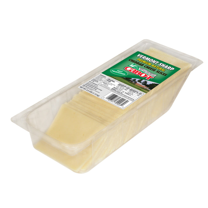 Sharp White Cheddar Cheese Slices, 2.5lb, 4 count