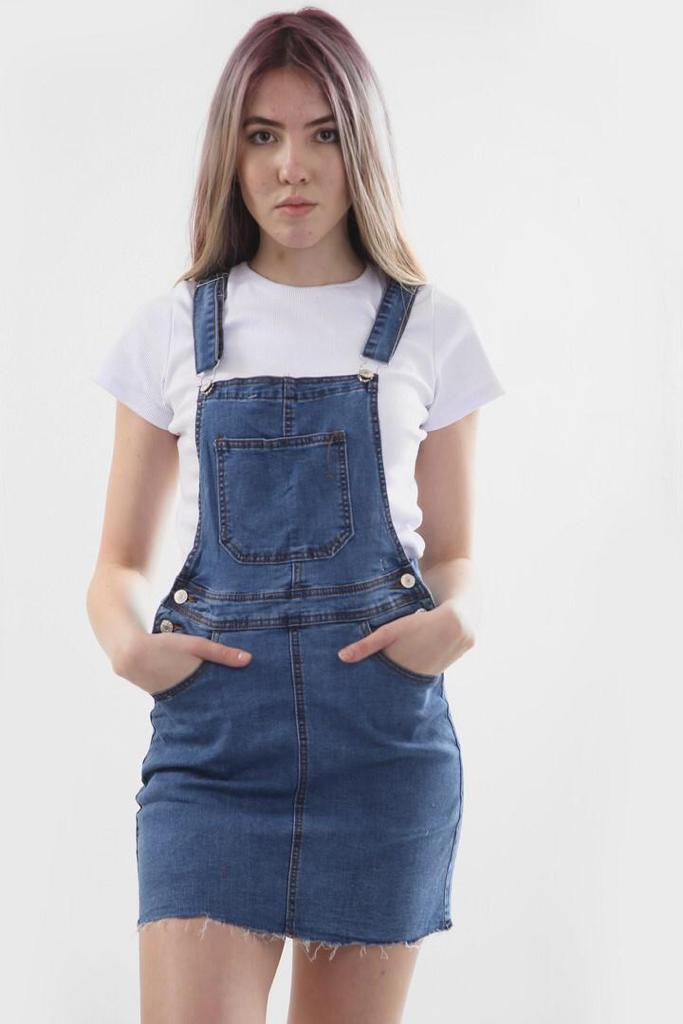 FRONT  POCKET BUTTON DETAILS  MID WASH PINAFORE DRESS