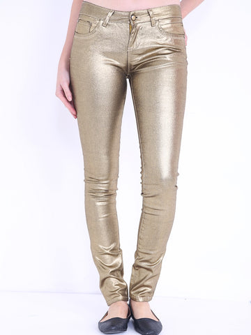 GOLD COATED MID RISE JEANS