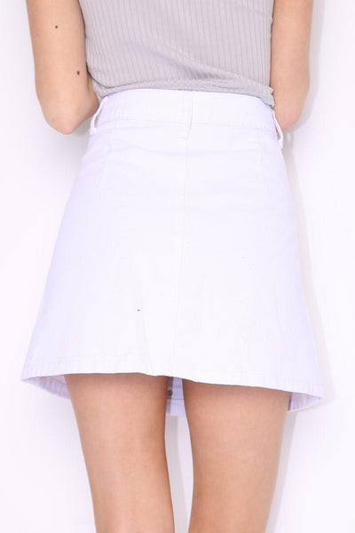 WHITE A-LINE FRONT BUTTON PU LEATHER SKIRT