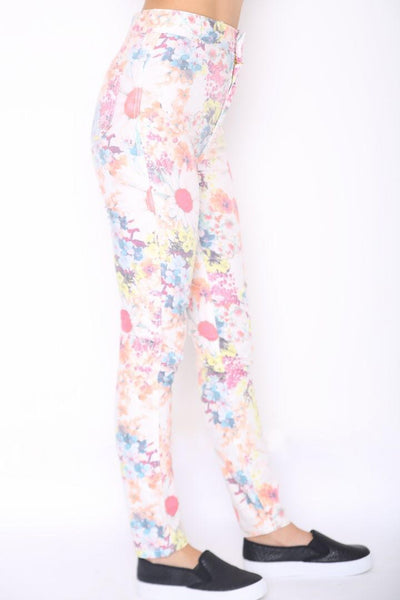 HIGH WAISTED FLORAL SKINNY JEANS
