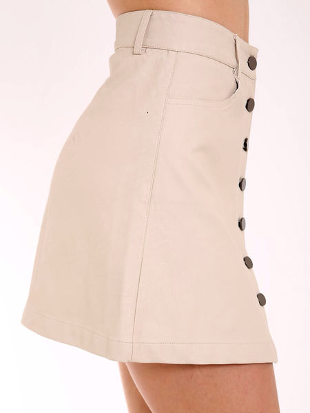 BEIGE A-LINE FRONT BUTTON PU LEATHER SKIRT