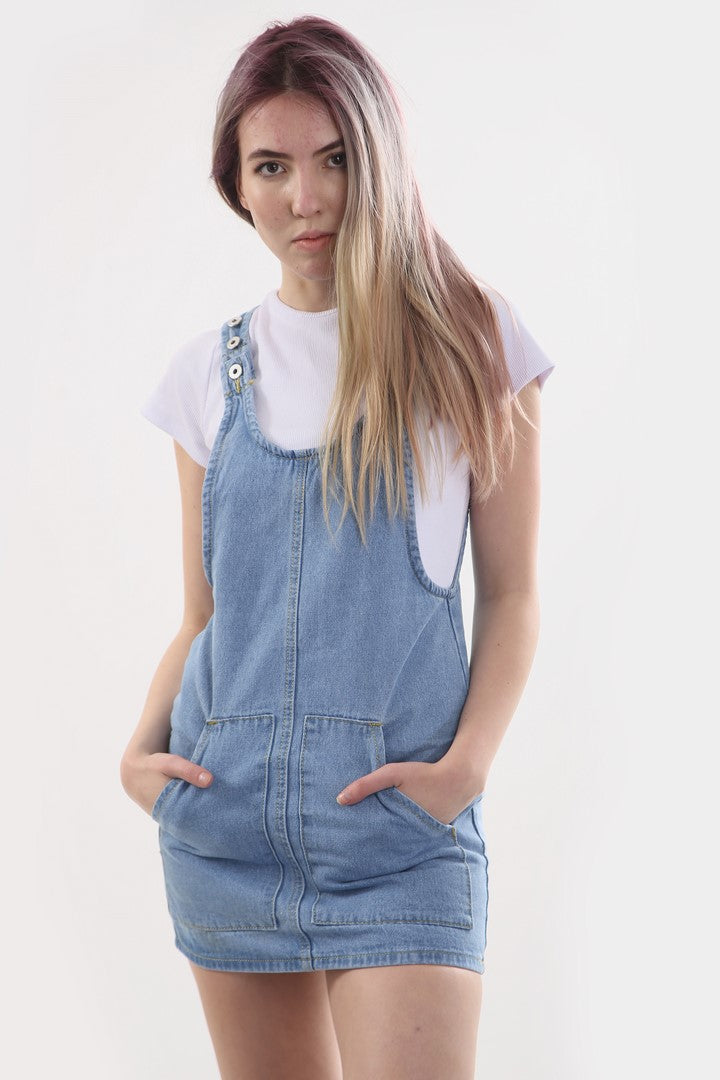 Light Wash Pinafore Dress