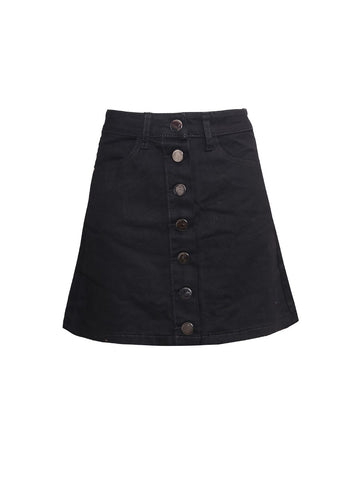 BLACK DENIM PENCIL A LINE BUTTON THROUGH MINI SKIRT