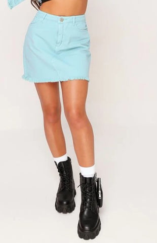 DUSTY BLUE DISTRESSED HEM DENIM SKIRT