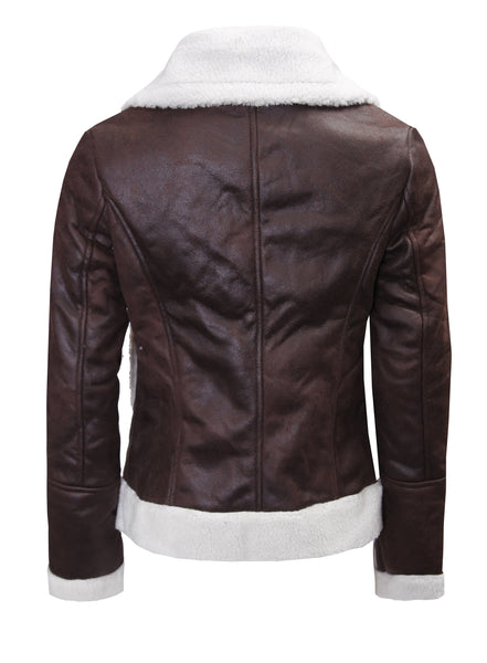 BROWN LEATHER-LOOK BIKER JACKET WITH FUR