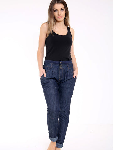 THREE BUTTON SKINNY HAREM STYLE JOGGER JEANS