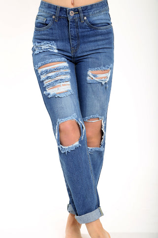 EXTREME DISTRESSED LIGHT WASH BOYFRIEND JEANS