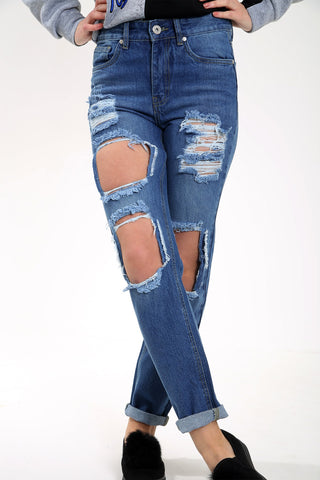 EXTREME DISTRESSED DARK WASH BOYFRIEND JEANS
