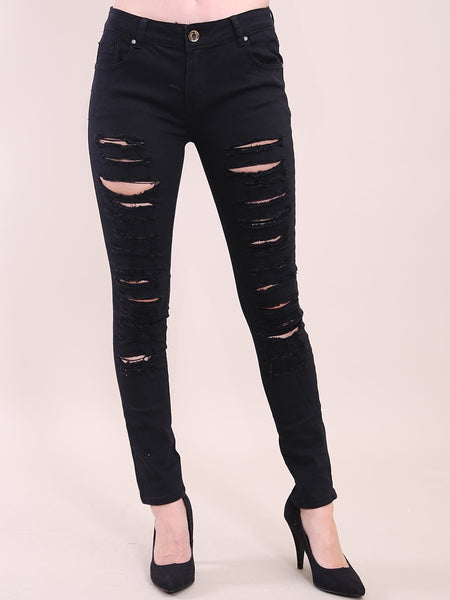 BLACK MULTI RIP HIGH RISE SKINNY JEANS
