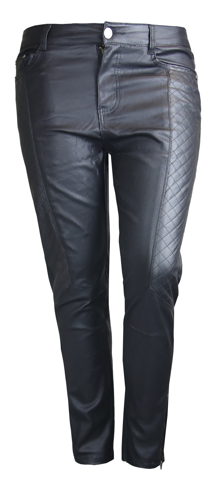 PLUS SIZE BLACK LEATHER LOOK QUILTED SIDE ANCKLE ZIP SKINNY FIT JEANS