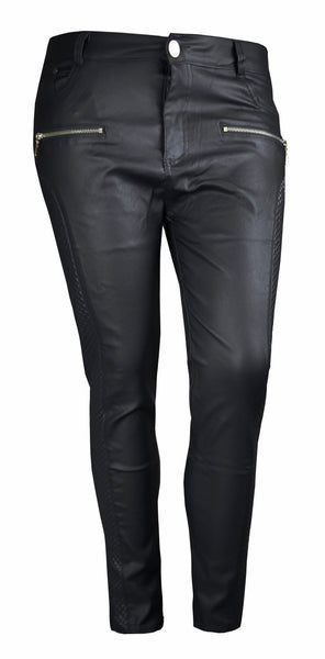 PLUS SIZE BLACK LEATHER LOOK QUILTED SIDE SKINNY FIT JEANS