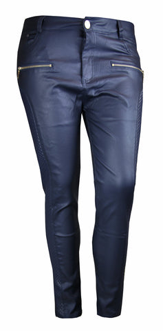 PLUS SIZE NAVY LEATHER LOOK QUILTED SIDE SKINNY FIT JEANS