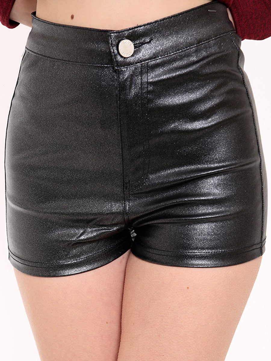 HIGH WAISTED METALLIC PU SHORTS