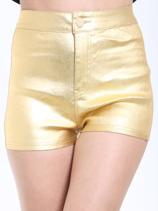 HIGH WAISTED GOLD COATED PU SHORTS