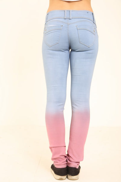 TWO TONE 3 BUTTON SKINNY JEANS