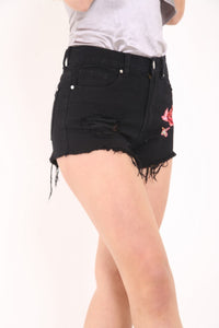 BLACK FLORAL EMBROIDERED DENIM SHORTS