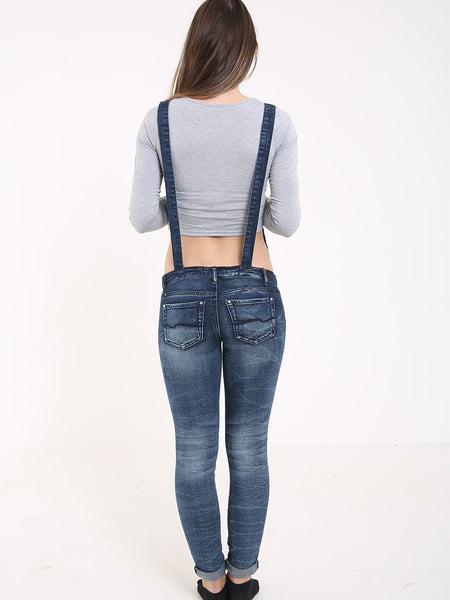 MID RISE RIPPED DETAIL DISTRESSED SKINNY JEANS WITH BRACES