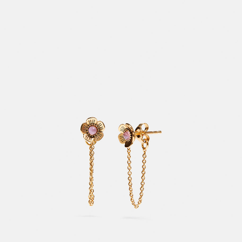 Demi-Fine Tea Rose Chain Earring