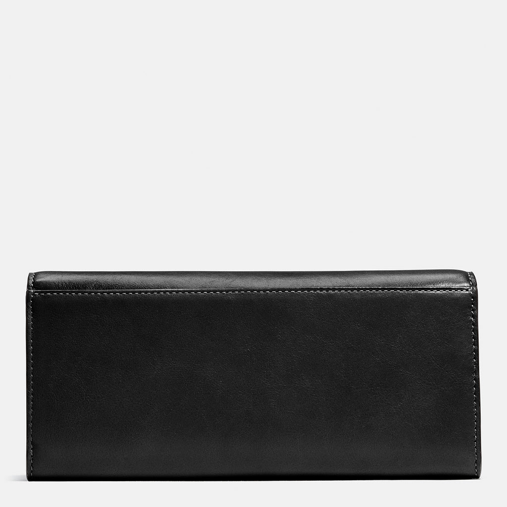 Smooth Leather Turnlock Slim Envelope