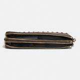 Lacquer Rivets Polished Pebble Leather Double Zip Wallet