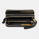 Smooth Leather Double Zip Accordion Wallet