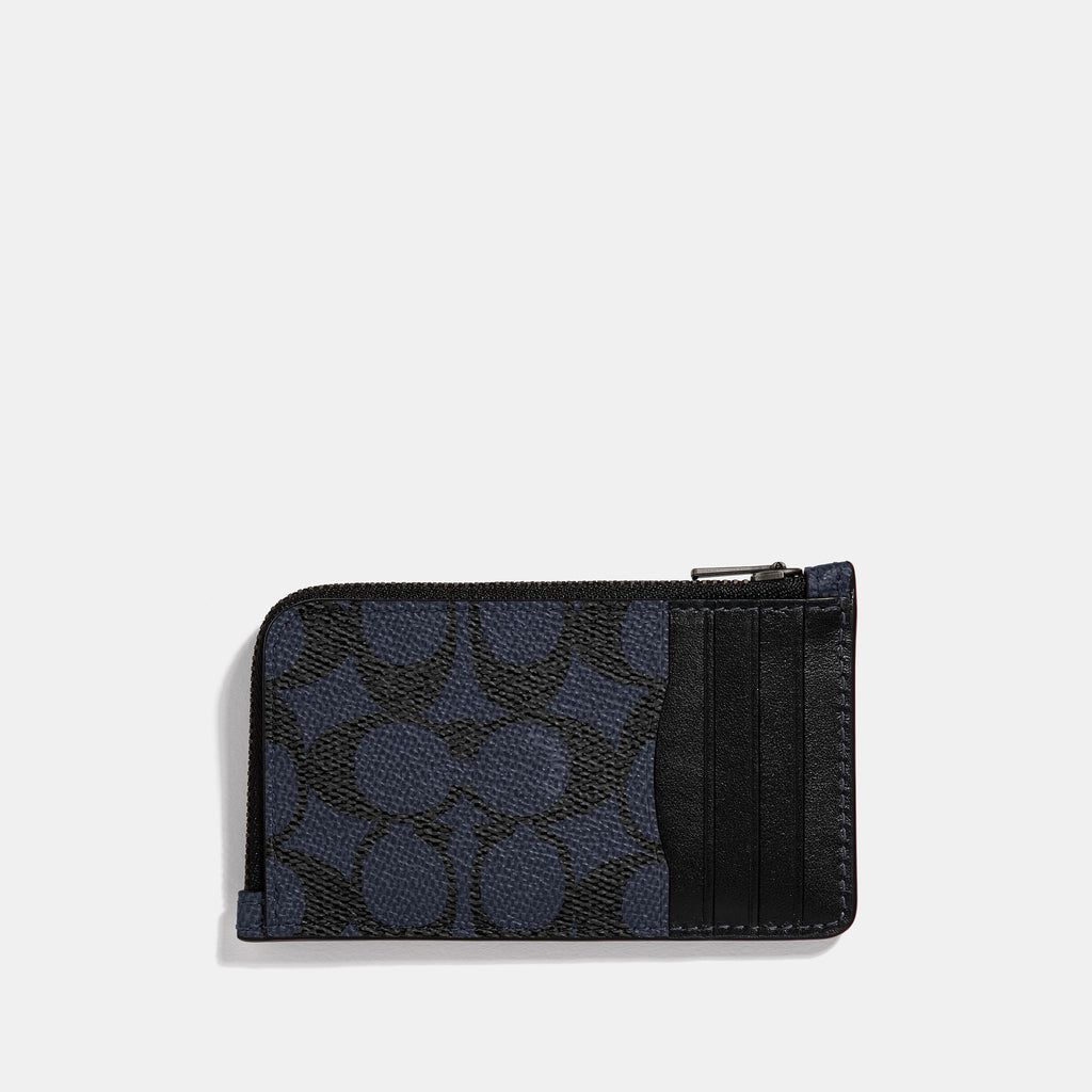 L - Zip Card Case In Signature Coated Canvas