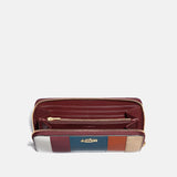 Accordion Zip Wallet With Patchwork Stripes