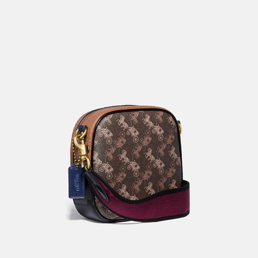 Kat Camera Bag with Colorblock in Horse and Carriage Print