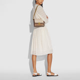 Hutton Shoulder Bag In Blocked Signature Canvas With Snakeskin Detail