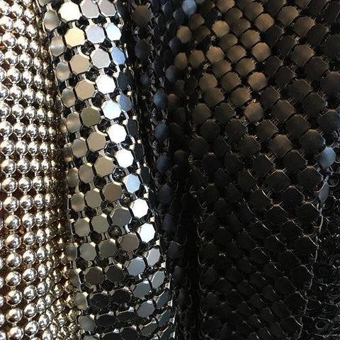 Silver and Black Metal Mesh