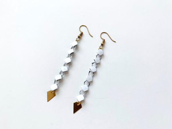 CLASSY White Metal Mesh Earrings with Brass Diamonds