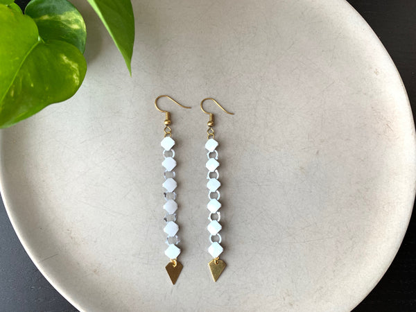 CLASSY White Mesh Earrings with Brass Diamonds
