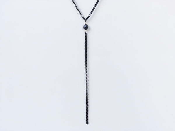 Black cube chain lariat necklace