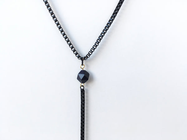 Blue goldstone pendant of lariat necklace
