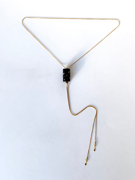 Holiday bolo tie necklace with clay pendant