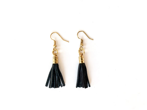 Recycled black leather tassel earrings