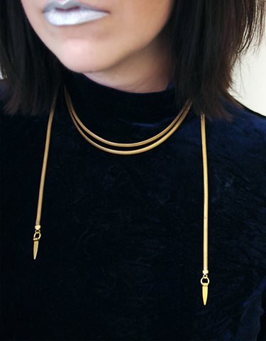 Gold wrap choker necklace