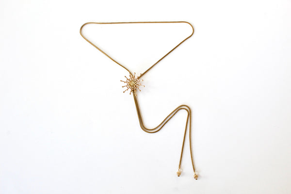 Gold holiday bolo tie necklace