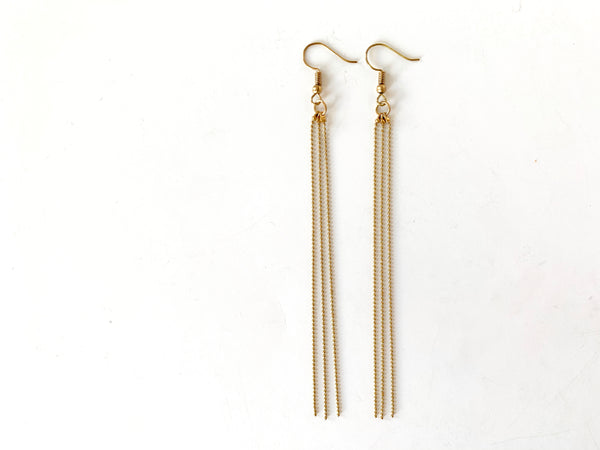 Ball chain tassel earrings