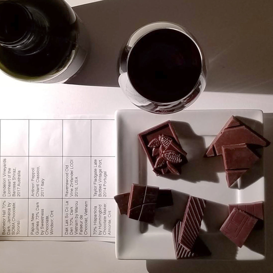 dark chocolate and red wine pairing notes, JoJo CoCo, Canada