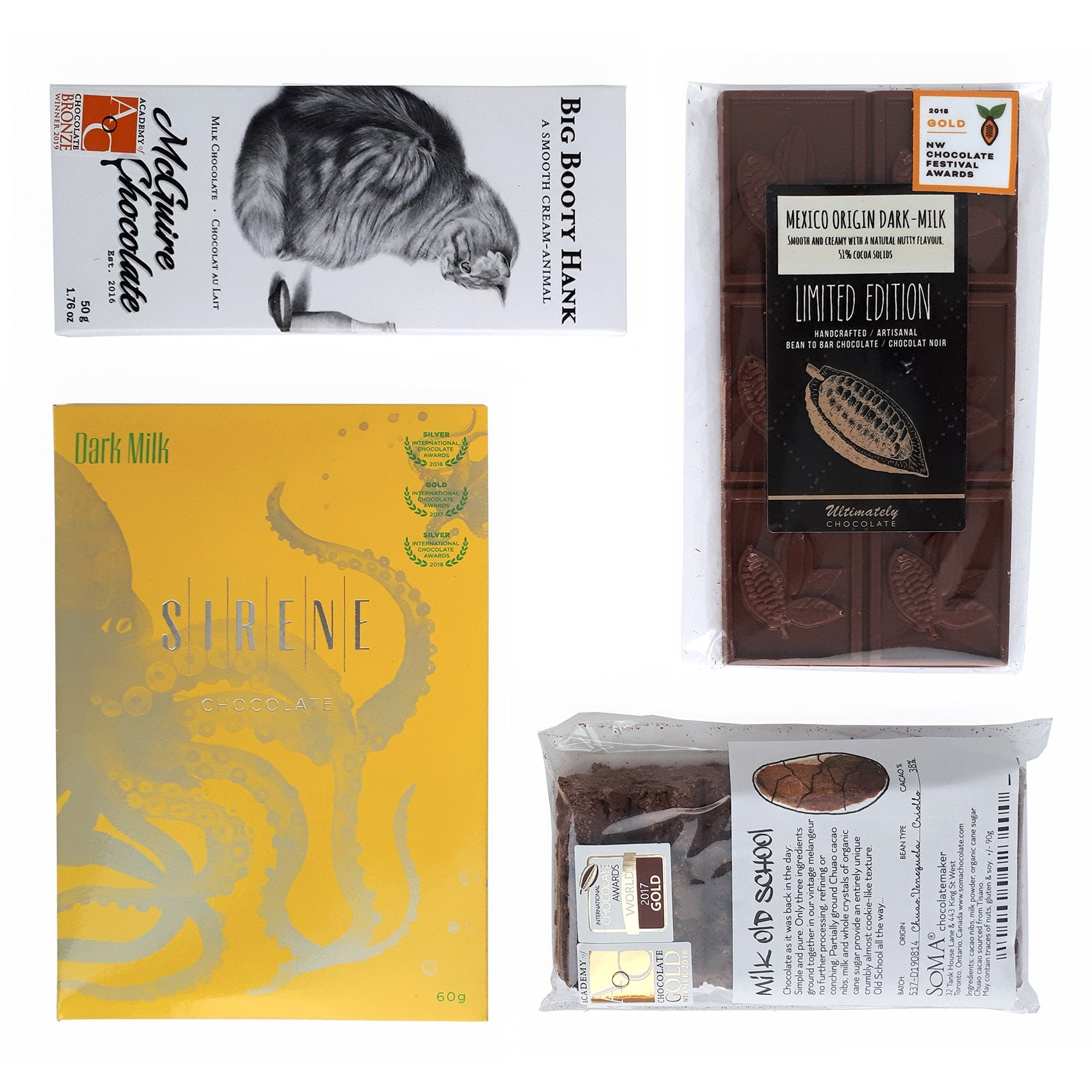 Collection of 4 bean-to-bar milk chocolate, all made in Canada