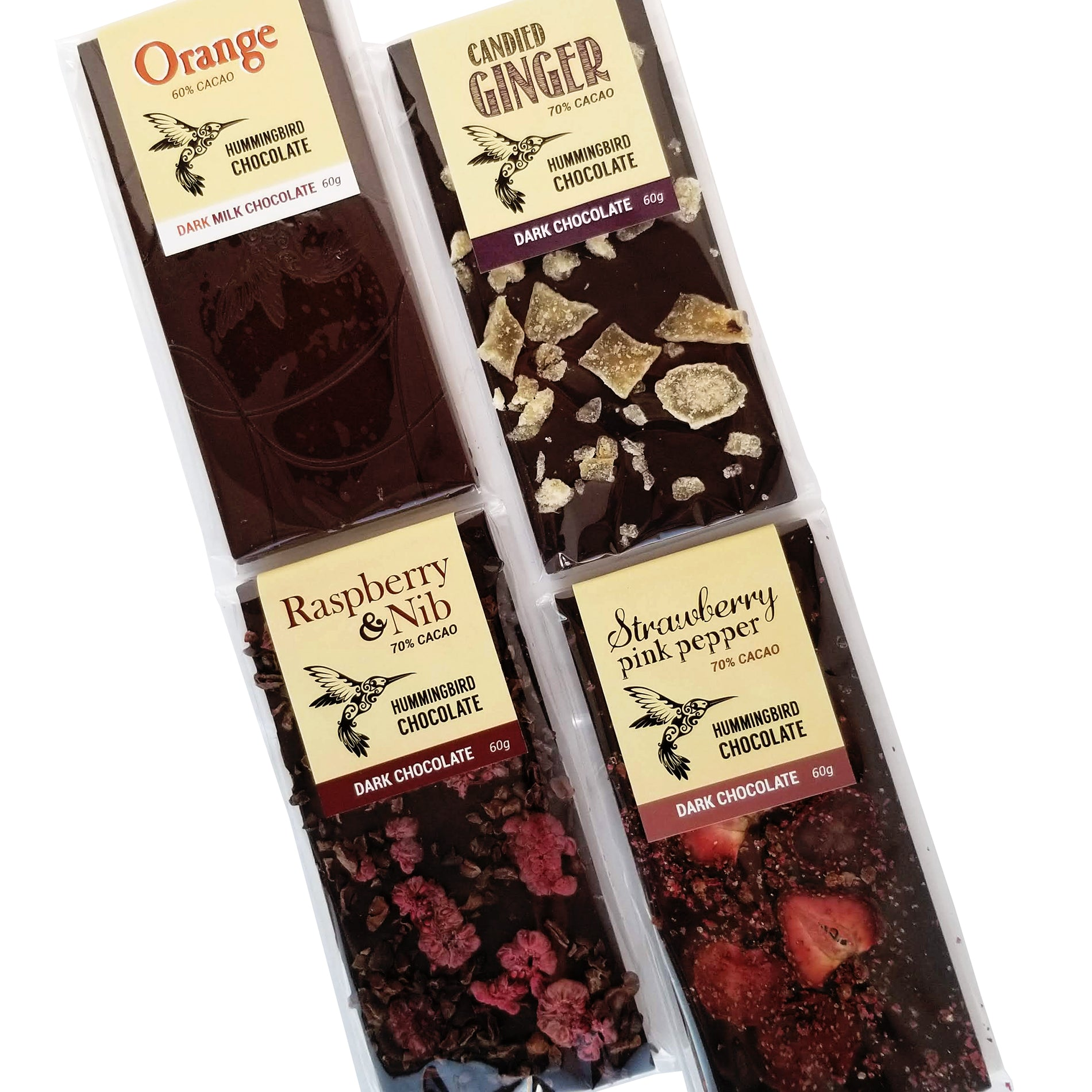 Hummingbird bean to bar chocolate berry, ginger and orange