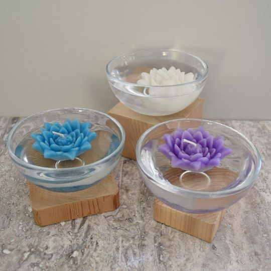Floating Lotus Candles (set of 3) - white/blue/purple