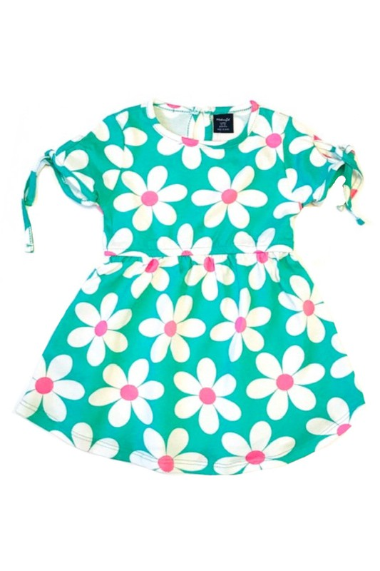 Turquoise Green Daisy Flower Dress