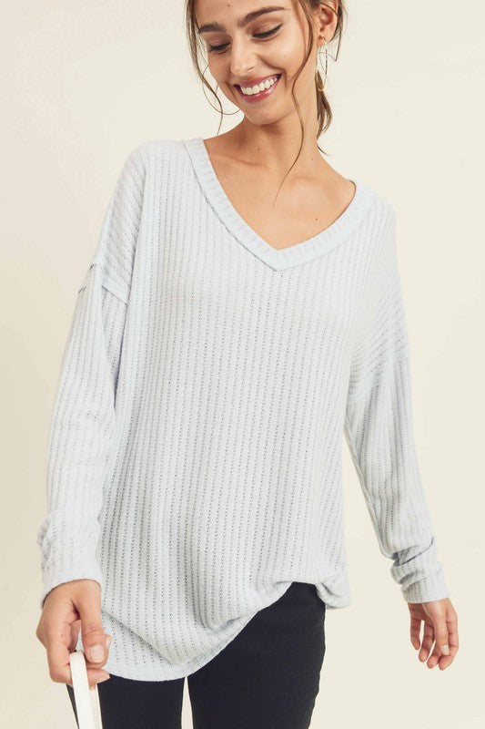 Cable Knit Top Light Blue